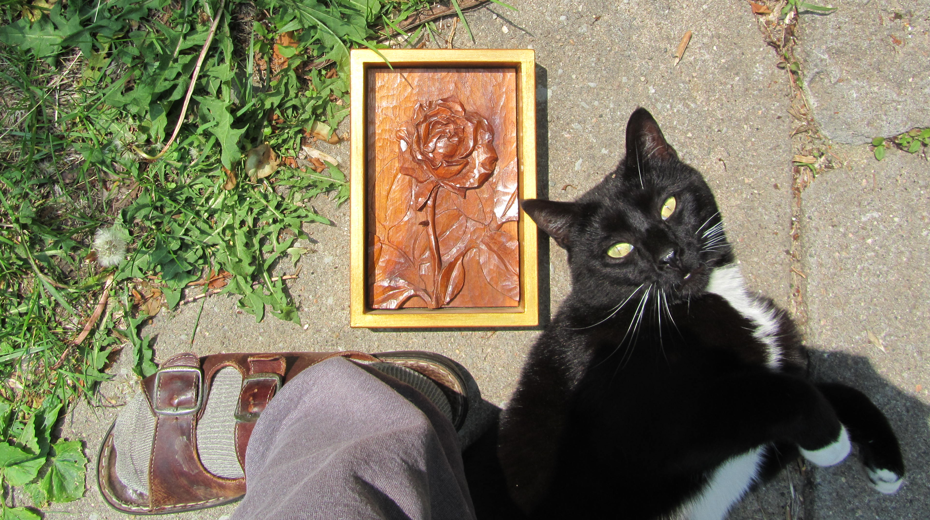 Relief carved rose in black walnut with an inset ebony thorn, by Theo Fadel. The house cat rampant is Roger Bacon.